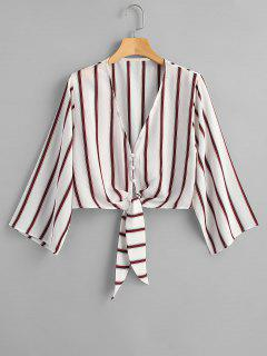 V Neck Multi Striped Knot Crop Top - White M