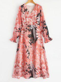 Back Zipper Chiffon Floral Maxi Dress - Floral L