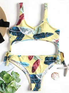 Tropical Leaf Padded Swimsuit - Yellow S