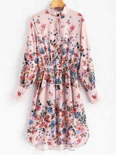 Half Buttoned Floral Shirt Dress - Floral L