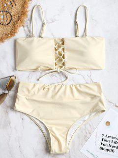 High Waisted Lace Up Bikini - Beige S