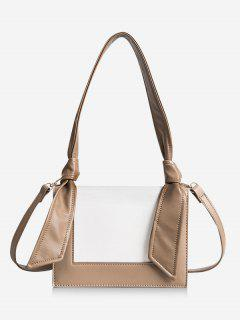 Minimalist Contrasting Color Shoulder Bag - Khaki