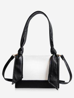 Minimalist Contrasting Color Shoulder Bag - Black