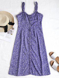 Button Through Floral Print A Line Dress - Purple S