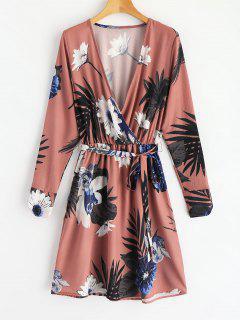 Surplice Floral A Line Dress - Floral S