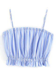 Frilled Cami Crop Top - Blue And White M
