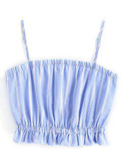 Crop Cami Con Volantes - Azul Y Blanco S
