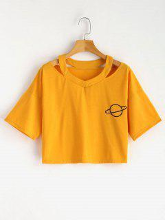 Cut Out - T-shirt Court Imprimé écossais - Moutarde  S