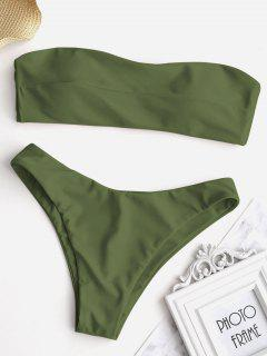 Knotted Bandeau Bikini Set - Army Green M