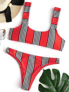 Conjunto De Bikini Acolchado A Rayas - Rojo L