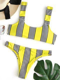 Conjunto De Bikini Acolchado A Rayas - Amarillo L
