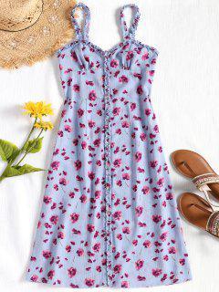 Buttons Frilled Floral Slip Dress - Blue Violet M