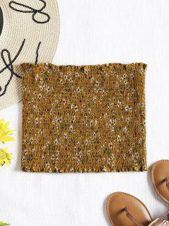 Smocked Tiny Floral Tube Top - Mustard L