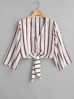 V Neck Multi Striped Knot Crop Top - White L