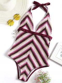 Zigzag Crochet Halter One Piece Swimsuit - Wine Red M