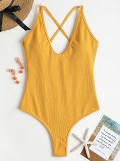 Ribbed High Cut Lace Up Swimwear - Ginger M