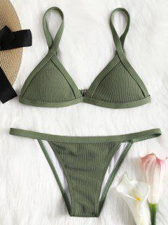 Ribbed Texture String Bikini Set - Green S