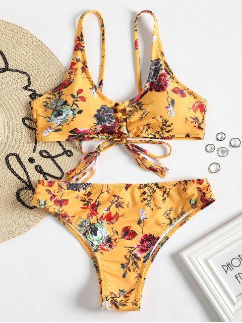 shop High Cut Floral Lace Up Bikini Set - YELLOW S Mobile