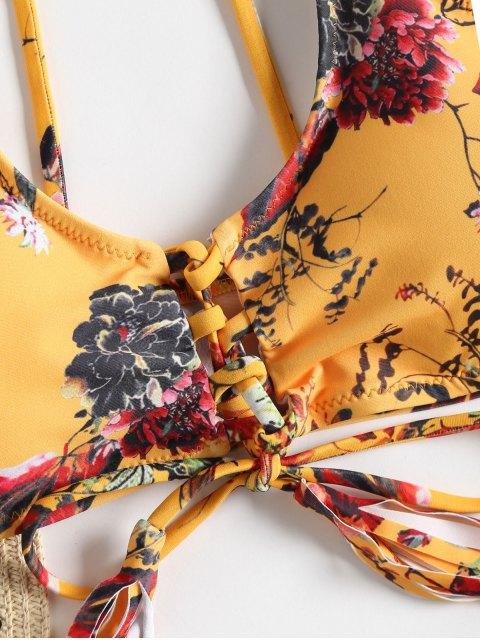 Conjunto de bikini de encaje con cordones de corte alto - Amarillo S Mobile