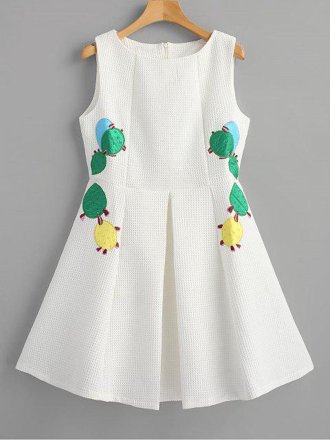 Robe de soirée au cactus appliqué et texturé - Blanc M Mobile