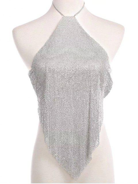 affordable Rhinestone Geometric Halter Body Chain - SILVER  Mobile