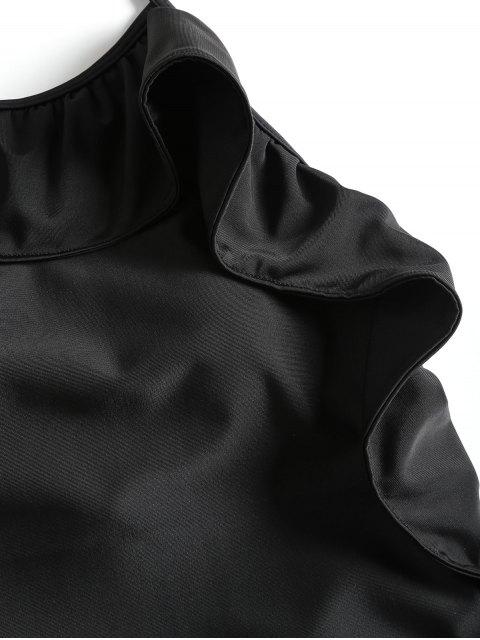 Traje de baño de cuello alto de Flounce - Negro S Mobile