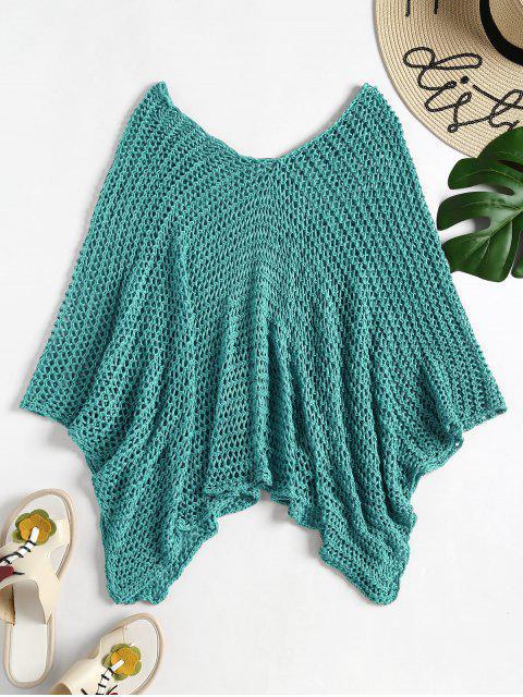 Cape de Plage en Crochet - RAL6016 Turquoise Vert Taille Unique Mobile