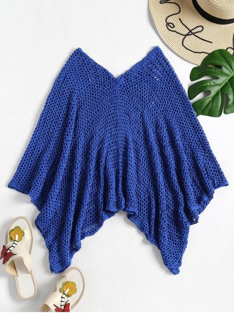 ladies Crochet Beach Poncho - ROYAL ONE SIZE Mobile