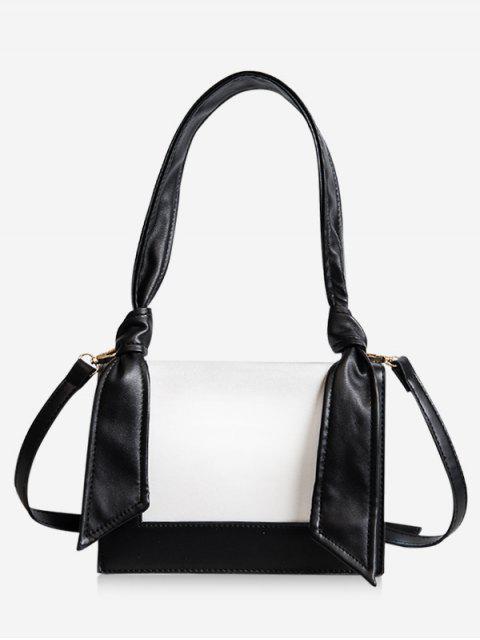 latest Minimalist Contrasting Color Shoulder Bag - BLACK  Mobile