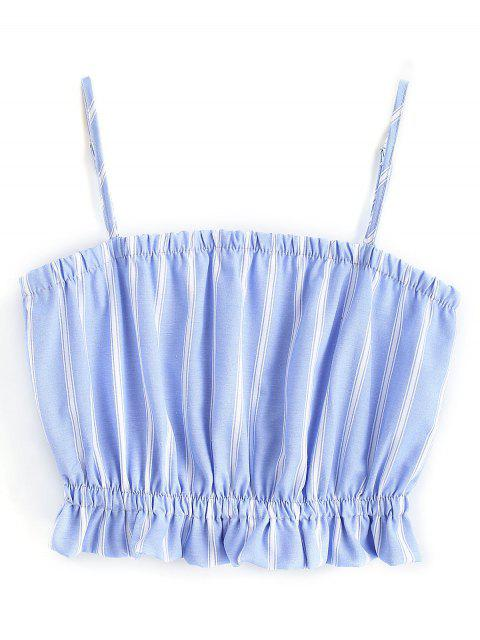 womens Frilled Cami Crop Top - BLUE AND WHITE S Mobile