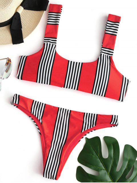 Conjunto de bikini acolchado a rayas - Rojo S Mobile