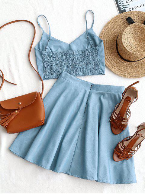 Smoked Crop Cami Top y conjunto de falda - Azul claro S Mobile
