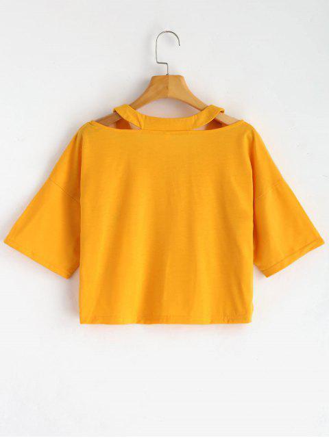 Camiseta corta con estampado de planeta recortado - Mostaza S Mobile