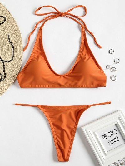 Halter G-string Bikini Set - Orange L