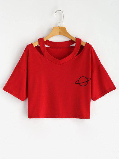Cut Out Planet Print Crop Tee - Red S