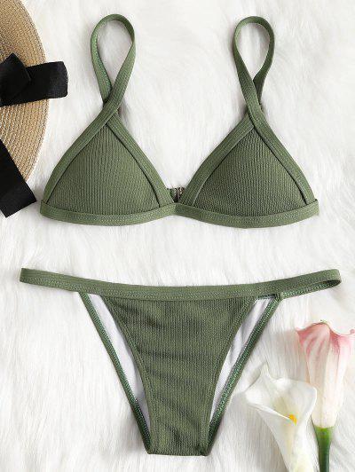 Ribbed Texture String Bikini Set - Green L