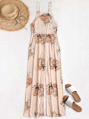 Apron Neck Floral Beach Jumpsuit
