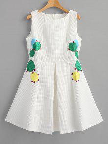 صبار محكم يزين فستان حفلة موسيقية - أبيض L