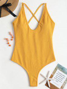 لباس سباحة مضلع بأربطة - زنجبيل L