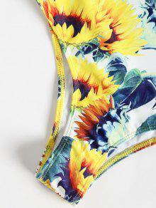 57b72d3d684f 12% OFF] 2019 Open Back Sunflower One-piece Swimsuit (Random Print ...