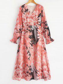فستان كبير شريط خلفي  الشيفون مزهر - الأزهار L