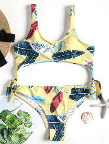أوراق استوائية مبطنه ملابس السباحة - الأصفر S