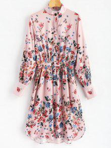 فستان بنمط قميص من الورود - الأزهار L