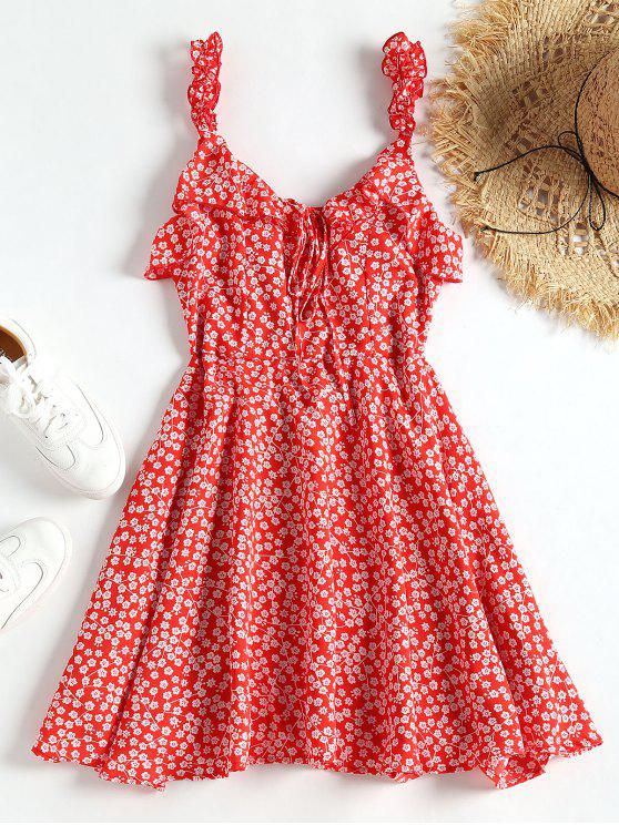 49d7f7e108 26% OFF] 2019 Tiny Floral Tied Ruffled Mini Dress In RED | ZAFUL