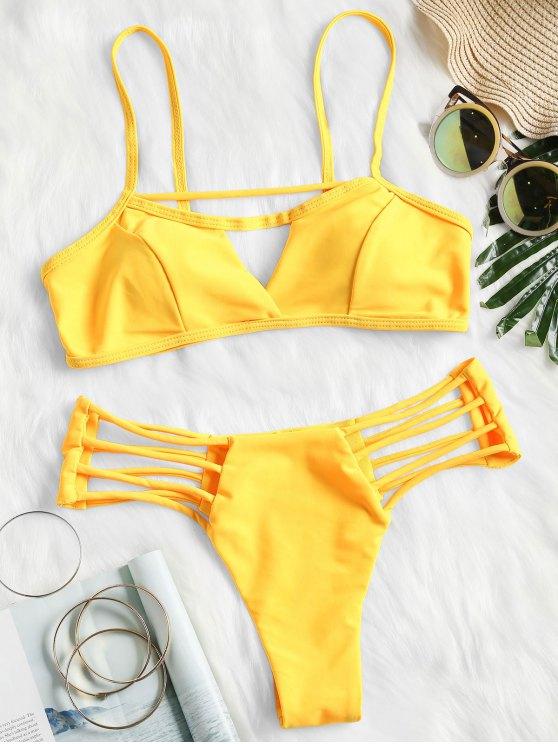 shops Padded Strappy Thong Bikini Set - YELLOW L