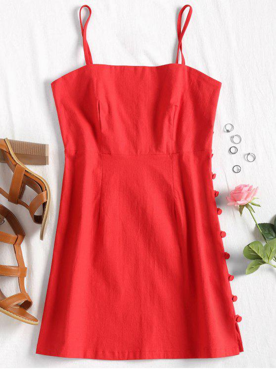 affordable Cami Side Buttoned Mini Dress - RED L
