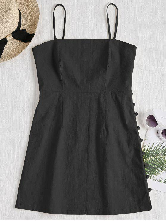 Cami Side Buttoned Mini Dress - Preto M