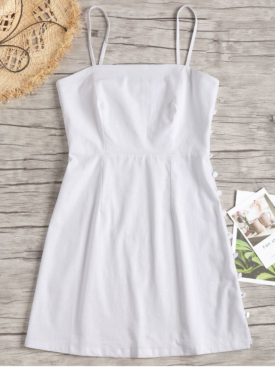 best Cami Side Buttoned Mini Dress - WHITE M