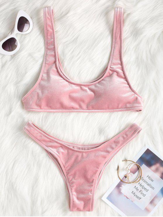 Hohes Bein Samt Bikini Set - Rosa M
