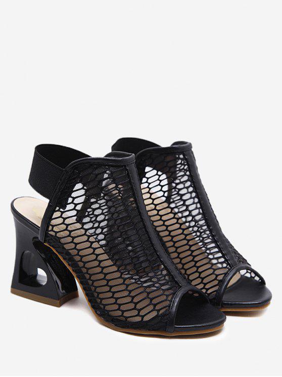 Sandali Con Tacco Alto E Fascia Elastica A Cuore - Nero 40